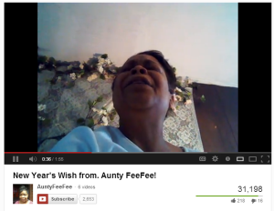 Aunty FeeFee singing a New Year's blessing