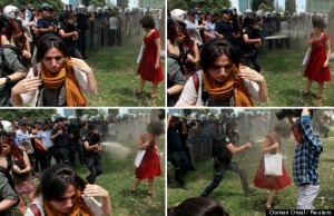 Combo photo of Turkish riot policeman using tear gas against woman as people protest against destruction of trees in park in Istanbul