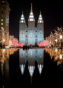 The Salt Lake City Mormon Temple on Temple Square during Christmastime.